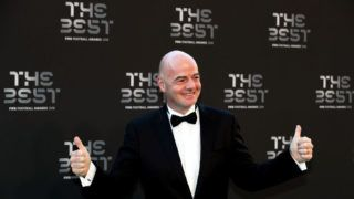 LONDON, ENGLAND - SEPTEMBER 24:  FIFA President, Gianni Infantino arrives on the Green Carpet ahead of The Best FIFA Football Awards at Royal Festival Hall on September 24, 2018 in London, England.  (Photo by Dan Istitene/Getty Images)