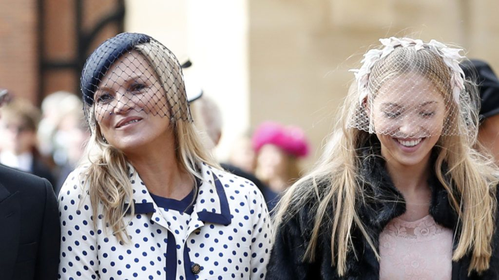 WINDSOR, ENGLAND - OCTOBER 12:  Liv Tyler, her husband Dave Gardner, Kate Moss and her daughter Lila Moss attend the wedding of Princess Eugenie of York to Jack Brooksbank at St. George's Chapel on October 12, 2018 in Windsor, England. (Photo by Alastair Grant- WPA Pool/Getty Images)