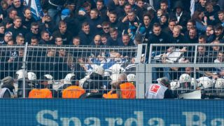 DORTMUND, GERMANY - OCTOBER 27: Supporters of Hertha BSC fight with the police during the Bundesliga match between Borussia Dortmund and Hertha BSC at Signal Iduna Park on October 27, 2018 in Dortmund, Germany. (Photo by TF-Images/Getty Images)