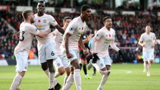 BOURNEMOUTH, ENGLAND - NOVEMBER 03:  Marcus Rashford of Manchester United celebrates with teammates after scoring his team's second goal during the Premier League match between AFC Bournemouth and Manchester United at Vitality Stadium on November 3, 2018 in Bournemouth, United Kingdom.  (Photo by Alex Morton/Getty Images)