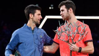 PARIS, FRANCE - NOVEMBER 04:  Novak Djokovic of Serbia and Karen Khachanov of Russia pose with their trophys after Karen Khachanov wins the Men's Final during Day Seven of the Rolex Paris Masters on November 4, 2018 in Paris, France.  (Photo by Justin Setterfield/Getty Images)