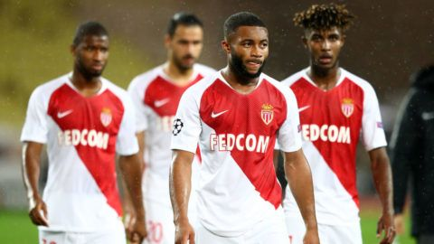 MONACO - NOVEMBER 06:  Moussa Sylla of Monaco and his team mate look dejected following their sides defeat in the Group A match of the UEFA Champions League between AS Monaco and Club Brugge at Stade Louis II on November 6, 2018 in Monaco, Monaco.  (Photo by Michael Steele/Getty Images)