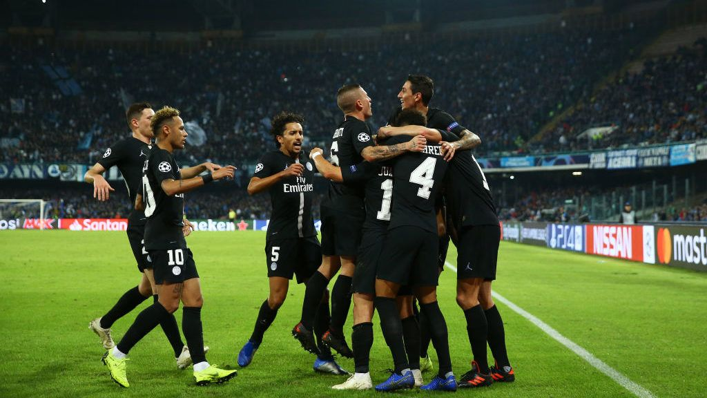 SSC Napoli - Paris Saint-Germain : UEFA Champions League Group C  SG players celebration after the goal scored by Juan Bernat at San Paolo Stadium in Naples, Italy on November 6, 2018.  (Photo by Matteo Ciambelli/NurPhoto via Getty Images)