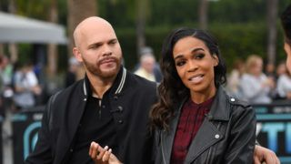 """UNIVERSAL CITY, CA - NOVEMBER 07:  Chad Johnson and Michelle Williams visit """"Extra"""" at Universal Studios Hollywood on November 7, 2018 in Universal City, California.  (Photo by Noel Vasquez/Getty Images)"""