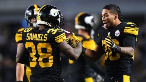 PITTSBURGH, PA - NOVEMBER 08: Jaylen Samuels #38 of the Pittsburgh Steelers celebrates with James Conner #30 after 6 yard touchdown reception during the second half in the game against the Carolina Panthers at Heinz Field on November 8, 2018 in Pittsburgh, Pennsylvania. (Photo by Joe Sargent/Getty Images)