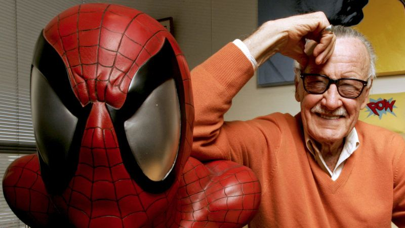 FILE: Stan Lee, founder of Marvel Entertainment Inc., poses for a photograph with a life size model of his superhero Spider-Man while in his office in Beverly Hills, California, U.S., on Thursday, Dec. 18, 2008. Lee, who brought a modern sensibility to comic books and provided lucrative fodder for Hollywood as co-creator of such sympathetically imperfect superheroes as Spider-Man, the Incredible Hulk, X-Men and Iron Man, has died. He was 95. Photographer: Jonathan Alcorn/Bloomberg via Getty Images