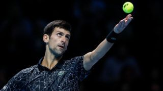 LONDON, ENGLAND - NOVEMBER 14:  Novak Djokovic of Serbia serves during his singles round robin match against Alexander Zverev of Germany during Day Four of the Nitto ATP Finals at The O2 Arena on November 14, 2018 in London, England.(Photo by Fred Lee/Getty Images)