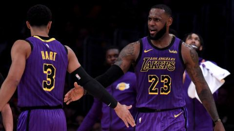 LOS ANGELES, CA - NOVEMBER 14:  LeBron James #23 of the Los Angeles Lakers celebrates his basket with Josh Hart #3 during a 126-117 Laker win at Staples Center on November 14, 2018 in Los Angeles, California.  NOTE TO USER: User expressly acknowledges and agrees that, by downloading and or using this photograph, User is consenting to the terms and conditions of the Getty Images License Agreement.  (Photo by Harry How/Getty Images)