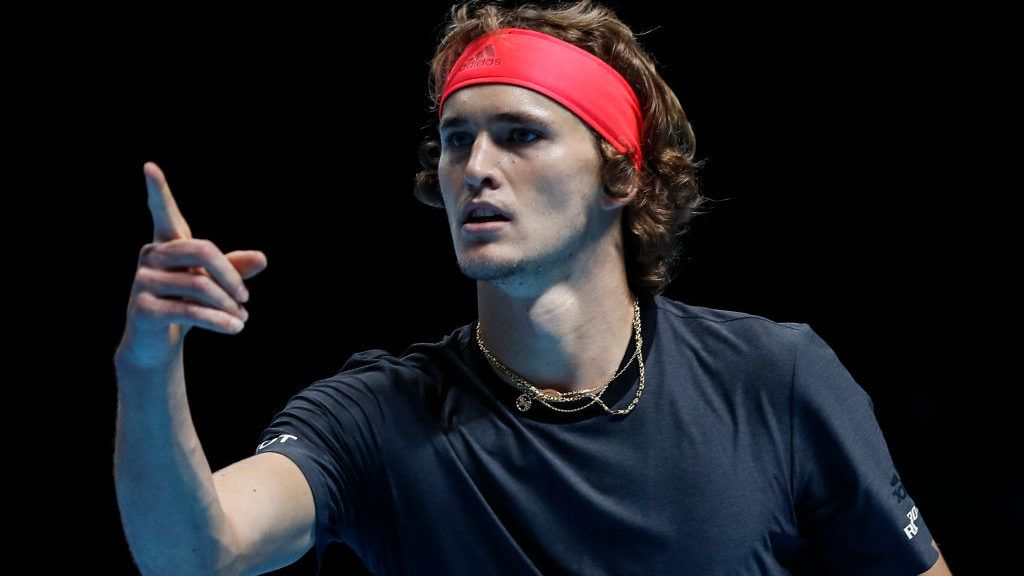LONDON, ENGLAND - NOVEMBER 16: Alexander Zverev of Germany reacts against John Isner of The United States during Day Six of the Nitto ATP Finals at The O2 Arena on November 16, 2018 in London, England. (Photo by Fred Lee/Getty Images)