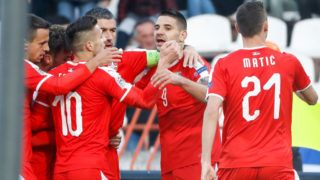 BELGRADE, SERBIA - NOVEMBER 17: Aleksandar Mitrovic (C) of Serbia celebrates after scoring a goal with team mates during the UEFA Nations League C group four match between Serbia and Montenegro at stadium Rajko Mitic on November 17, 2018 in Belgrade, Serbia. (Photo by Srdjan Stevanovic/Getty Images)