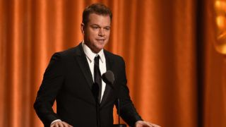 HOLLYWOOD, CA - NOVEMBER 18:  Matt Damon speaks onstage during the Academy of Motion Picture Arts and Sciences' 10th annual Governors Awards at The Ray Dolby Ballroom at Hollywood & Highland Center on November 18, 2018 in Hollywood, California.  (Photo by Kevin Winter/Getty Images)