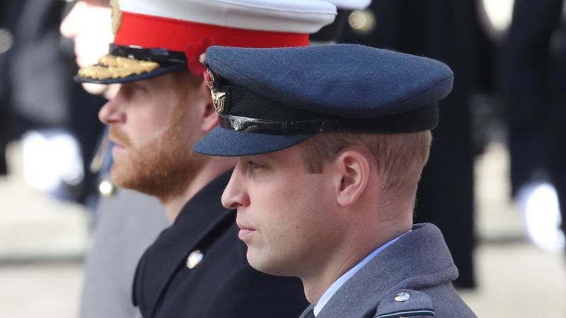LONDON, ENGLAND - NOVEMBER 11: Prince Harry, Duke of Sussex and Prince William, Duke of Cambridge during the annual Remembrance Sunday memorial on November 11, 2018 in London, England. The armistice ending the First World War between the Allies and Germany was signed at Compiègne, France on eleventh hour of the eleventh day of the eleventh month - 11am on the 11th November 1918. This day is commemorated as Remembrance Day with special attention being paid for this year's centenary. (Photo by Chris Jackson/Getty Images)