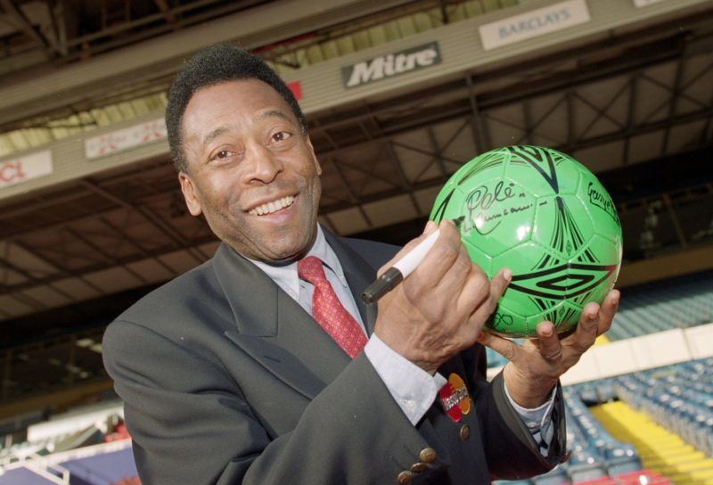31 Oct 2000:  Pele during an AXA photocall at Wembley in London.  Mandatory Credit: Clive Mason /Allsport