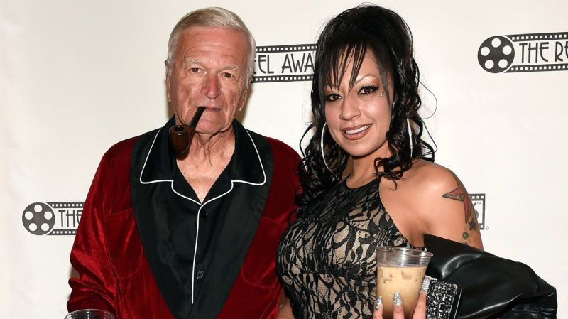 LAS VEGAS, NV - FEBRUARY 20:  Hugh Hefner impersonator (L) of Florida and Zuma Soto attend The Reel Awards 2017 at the Golden Nugget Hotel & Casino on February 20, 2017 in Las Vegas, Nevada.  (Photo by David Becker/Getty Images)