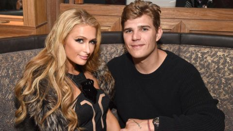 LOS ANGELES, CA - MARCH 18:  Paris Hilton (L) and Chris Zylka  attend day three of TAO, Beauty & Essex, Avenue and Luchini LA Grand Opening on March 18, 2017 in Los Angeles, California.  (Photo by Michael Kovac/Getty Images for TAO)