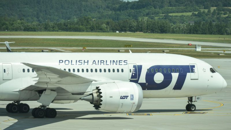 A view of Boeing 787 Dreamliner arriving from Chicago, on the day of the inauguration of Krakow-Chicago new connection operated by PLL LOT, at John Paul II International Airport KrakowBalice. On Monday, July 3, 2017, in Krakow, Poland. (Photo by Artur Widak/NurPhoto via Getty Images)