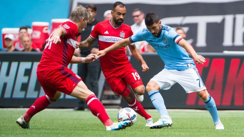 NEW YORK – JULY 22: Midfielder Bastian Schweinsteiger #31 of Chicago Fire and forward David Villa #7 of New York City FC vie for the ball during the match at Yankee Stadium on July 22, 2017 in New York City.  New York City FC defeats Chicago Fire 2-1. (Photo by Michael Stewart/Getty Images)