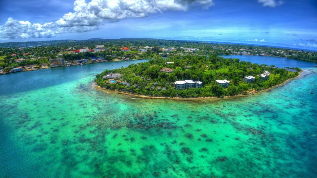 Vila, Vanuatu is one of the best ports of calls in the South Pacific that cruise lines visit. I taken the opportunity to take a Shore Excursion, which got me into a helicopter flying over Port Vila. Got some amazing shots of the lagoons and the coral reef.