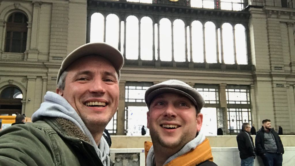 Left-right - Adam Leyton and Chris Fletcher in Budapest. See SWNS story SWLECapitals; A pair of globetrotting friends have dashed through nine capital cities within the space of 24 hours - to set a new world record. Chris Fletcher, 38, and Adam Leyton, 41, took seven trains, five buses, and two flights across 1,600 miles to claim the record. The dynamic duo travelled through London, Paris, Brussels, Amsterdam, Berlin, Prague, Bratislava, Vienna and Budapest. Business partners Chris and Adam almost missed out on the record, arriving at their final destination with only ten minutes to spare. Their exhausting trip, to raise money for a stillbirth and neonatal charity, began in London, where they took the Eurostar to Paris, yesterday at 11.30am on Sunday. ***EXCLUSIVE***
