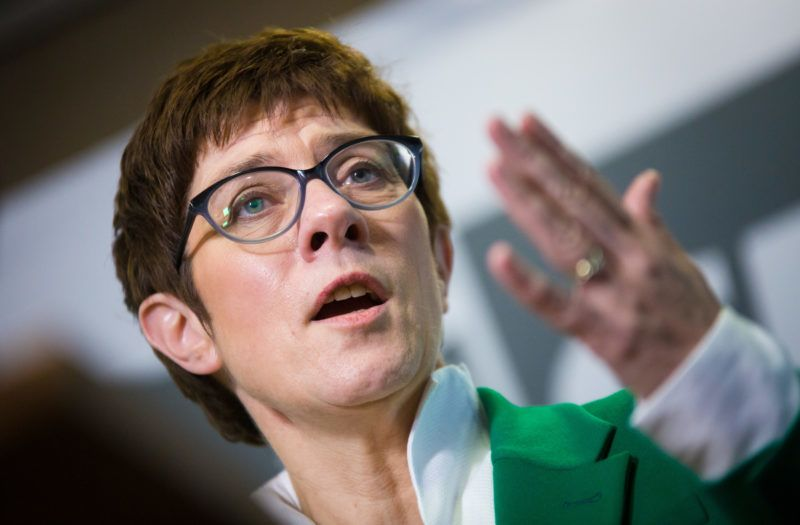 27 November 2018, Baden-Wuerttemberg, Stuttgart: Annegret Kramp-Karrenbauer, candidate for the CDU federal presidency, makes a statement after introducing herself to the CDU state parliamentary group in Baden-Württemberg. Kramp-Karrenbauer is, along with Spahn and Merz, a candidate for the federal CDU presidency. Photo: Christoph Schmidt/dpa