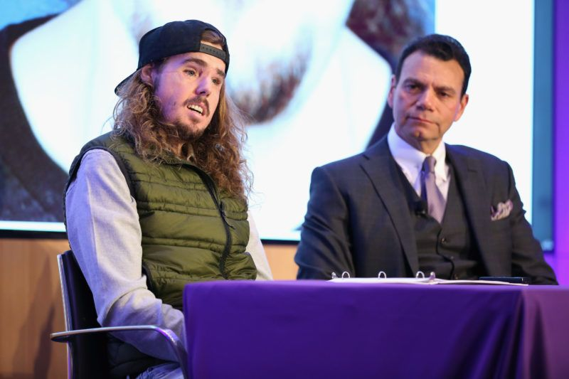 NEW YORK, NEW YORK - NOVEMBER 29: Cameron Underwood (L) and Eduardo D. Rodriguez, MD, DDS speak during the 2018 NYU Langone Face Transplant Announcement with patient Cameron Underwood at NYU Langone Medical Center on November 29, 2018 in New York City.   Monica Schipper/Getty Images for NYU Langone/AFP