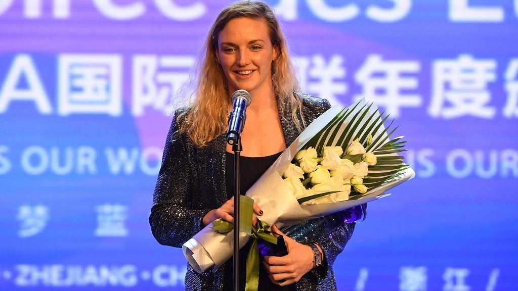 Hungarian swimmer Katinka Hosszu poses with her trophy after winning the FINA Best Female Swimmer of the Year 2018 at the FINA World Aquatics Gala in Hangzhou city, east China's Zhejiang province, 16 December 2018.