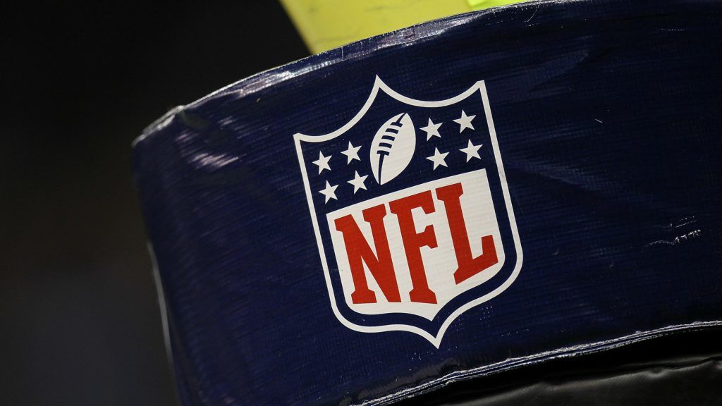 NEW ORLEANS - SEPTEMBER 09: The NFL shield logo on the goal post pad at Louisiana Superdome on September 9, 2010 in New Orleans, Louisiana.   Ronald Martinez/Getty Images/AFP