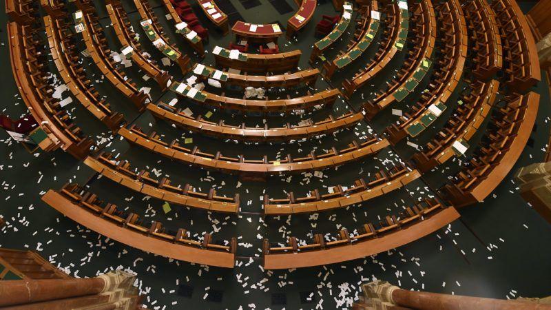 Budapest, 2018. december 12. A Parlament alsóházi terme az Országgyûlés plenáris ülése után 2018. december 12-én. MTI/Illyés Tibor