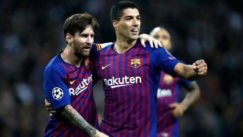 LONDON, ENGLAND - OCTOBER 03:  Lionel Messi of Barcelona and Luis Suarez of Barcelona celebrates after Lionel Messi scored their team's fourth goal during the Group B match of the UEFA Champions League between Tottenham Hotspur and FC Barcelona at Wembley Stadium on October 3, 2018 in London, United Kingdom.  (Photo by Julian Finney/Getty Images)