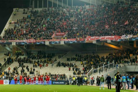 ATHENS, GREECE - OCTOBER 23: The team of Bayern Muenchen celebrates after winning the UEFA Champions League Group E match between AEK Athens and FC Bayern Muenchen at Athens Olympic Stadium on October 23, 2018 in Athens, Greece. (Photo by TF-Images/Getty Images)