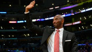 LOS ANGELES, CA - OCTOBER 25:  Former Los Angeles Lakers great Kobe Bryant waves to the crord during the first half of the NBA game between the Denver Nuggets and the Los Angeles Lakers on October 25, 2018 at STAPLES Center in Los Angeles, California. NOTE TO USER: User expressly acknowledges and agrees that, by downloading and or using this photograph, User is consenting to the terms and conditions of the Getty Images License Agreement.  (Photo by Robert Laberge/Getty Images)