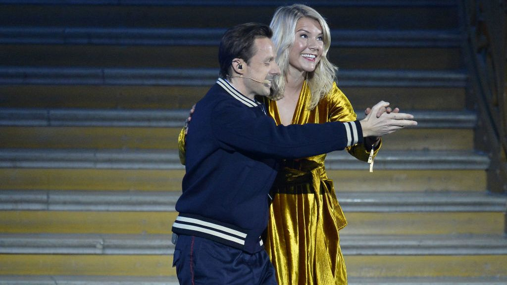 PARIS, FRANCE - DECEMBER 03:  Ada Hegerberg of Sweden and Olympioque Lyonnais dances with French DJ Martin Solveig after she won the 2018 Ballon D'Or at Le Grand Palais on December 3, 2018 in Paris, France.  (Photo by Aurelien Meunier/Getty Images)