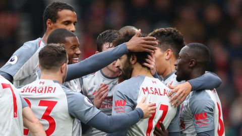 BOURNEMOUTH, ENGLAND - DECEMBER 08:  Mohamed Salah of Liverpool celebrates after scoring his team's first goal with his team mates during the Premier League match between AFC Bournemouth and Liverpool FC at Vitality Stadium on December 8, 2018 in Bournemouth, United Kingdom.  (Photo by Dan Istitene/Getty Images)