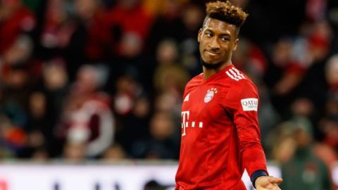 MUNICH, GERMANY - DECEMBER 08: Kingsley Coman of Bayern Muechen gestures during the Bundesliga match between FC Bayern Muenchen and 1. FC Nuernberg at Allianz Arena on December 8, 2018 in Munich, Germany. (Photo by TF-Images/TF-Images via Getty Images)