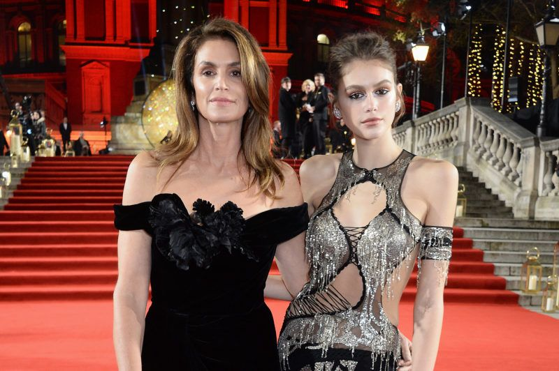 LONDON, ENGLAND - DECEMBER 10:    Cindy Crawford and Kaia Gerber arrive at The Fashion Awards 2018 in partnership with Swarovski at the Royal Albert Hall on December 10, 2018 in London, England. (Photo by David M. Benett/Dave Benett/Getty Images)