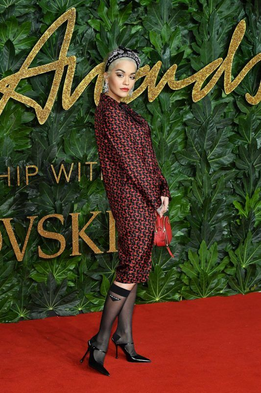 LONDON, ENGLAND - DECEMBER 10:  Rita Ora attends the Fashion Awards 2018 in partnership with Swarovski at Royal Albert Hall on December 10, 2018 in London, England.  (Photo by Stephane Cardinale - Corbis/Corbis via Getty Images)