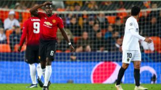VALENCIA, SPAIN - DECEMBER 12: Paul Pogba of Manchester United reacts during the UEFA Champions League Group H match between Valencia and Manchester United at Estadio Mestalla on December 12, 2018 in Valencia, Spain. (Photo by Robbie Jay Barratt - AMA/Getty Images)