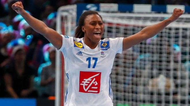 PARIS, FRANCE - DECEMBER 14: Siraba Dembele #17 of France celebrates a goal during the EHF Euro semi-final match between Netherlands and France at AccorHotels Arena on December 14, 2018 in Paris, France. (Photo by Catherine Steenkeste/Getty Images)