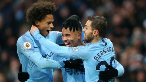 MANCHESTER, ENGLAND - DECEMBER 15:  Gabriel Jesus of Manchester City celebrates with teammates after scoring his team's first goal during the Premier League match between Manchester City and Everton FC at Etihad Stadium on December 15, 2018 in Manchester, United Kingdom.  (Photo by Alex Livesey/Getty Images)