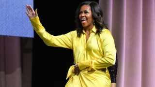 """NEW YORK, NEW YORK - DECEMBER 19:  Former first lady Michelle Obama discusses her book """"Becoming"""" at Barclays Center on December 19, 2018 in New York City. (Photo by Dia Dipasupil/Getty Images)"""