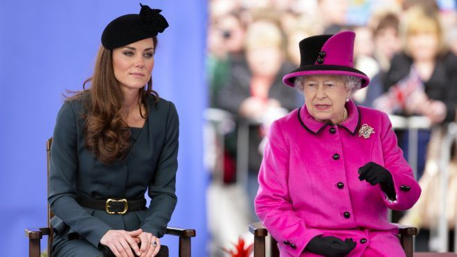LEICESTER, UNITED KINGDOM - MARCH 08: (EMBARGOED FOR PUBLICATION IN UK NEWSPAPERS UNTIL 48 HOURS AFTER CREATE DATE AND TIME) Catherine Duchess of Cambridge and Queen Elizabeth II listen to a speech as they, accompanied by Prince Philip, Duke of Edinburgh, visit Leicester on the first date of Queen Elizabeth II's Diamond Jubilee tour of the UK on March 8, 2012 in Leicester, England. (Photo by Indigo/Getty Images)