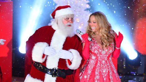 NEW YORK, NY - NOVEMBER 27:  Mariah Carey sings during a pre-tape performance for NBC's Christmas tree lighting at Rockefeller Center on November 27, 2012 in New York City.  (Photo by James Devaney/FilmMagic)