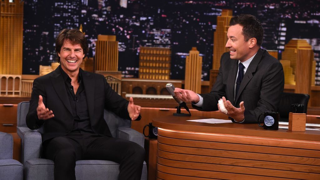 """NEW YORK, NY - JULY 27:  Tom Cruise Visits """"The Tonight Show Starring Jimmy Fallon"""" at Rockefeller Center on July 27, 2015 in New York City.  (Photo by Theo Wargo/NBC/Getty Images for """"The Tonight Show Starring Jimmy Fallon"""")"""