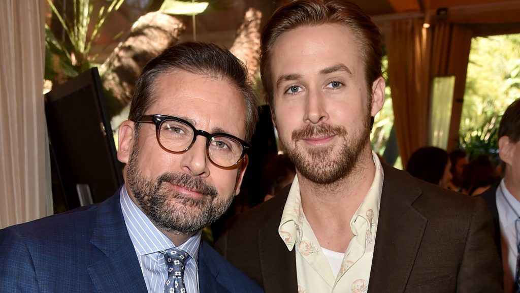BEVERLY HILLS, CA - JANUARY 08:  Actors Steve Carell (L) and Ryan Gosling attend the 16th Annual AFI Awards at Four Seasons Hotel Los Angeles at Beverly Hills on January 8, 2016 in Beverly Hills, California.  (Photo by Kevin Winter/Getty Images for AFI)