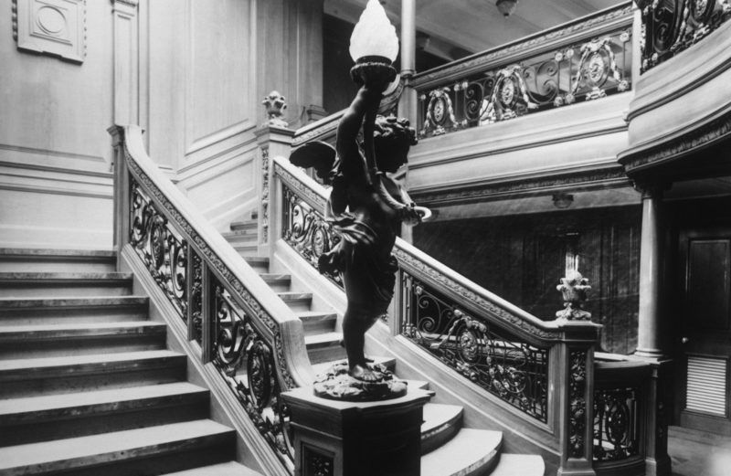 The Aft First Class staircase leading to the a la carte restaurant on the RMS Titanic, the world's most luxurious ocean liner at the time of its launching in April of 1912. (Photo by  Ralph White/CORBIS/Corbis via Getty Images)