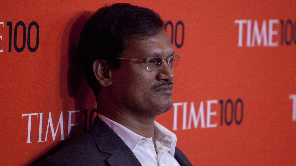 """Arunachalam Muruganantham attends the """"TIME 100 Gala, TIME's 100 Most Influential People In The World"""" at the Frederick P Rose Hall at Lincoln Center in New York City. © LAN (Photo by Lars Niki/Corbis via Getty Images)"""