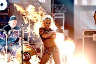 LOS ANGELES, CA - FEBRUARY 12:  Recording artists Lars Ulrich (L) of music group Metallica and Lady Gaga perform onstage during The 59th GRAMMY Awards at STAPLES Center on February 12, 2017 in Los Angeles, California.  (Photo by Kevin Winter/Getty Images for NARAS)