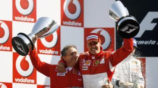MONZA, ITALY - SEPTEMBER 10:  Michael Schumacher of Germany and Ferrari celebrates with Jean Todt after victory at the Italian Grand Prix at the Autodromo Nazionale di Monza on September 10, 2006, in Monza, Italy.  (Photo by Clive Mason/Getty Images)