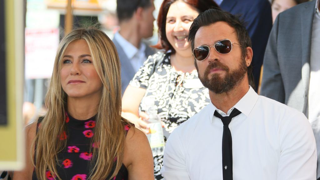 HOLLYWOOD, CA - JULY 26: Jennifer Aniston and Justin Theroux attend the ceremony honoring Jason Bateman with Star On The Hollywood Walk Of Fame on July 25, 2017 in Hollywood, California. (Photo by JB Lacroix/WireImage)