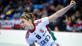BIETIGHEIM-BISSINGEN, GERMANY - DECEMBER 07: Aniko Kovacsics of Hungary celebrates scoring a goal during IHF Women's Handball World Championship group B match between Poland and Hungary on December 07, 2017 in Bietigheim-Bissingen, Germany. (Photo by Lukasz Laskowski/PressFocus/MB Media/Getty Images)